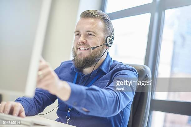 bearded customer service rep