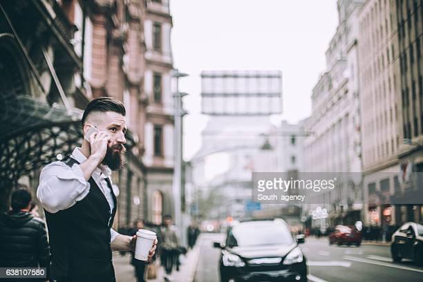 Bearded gentleman on mobile