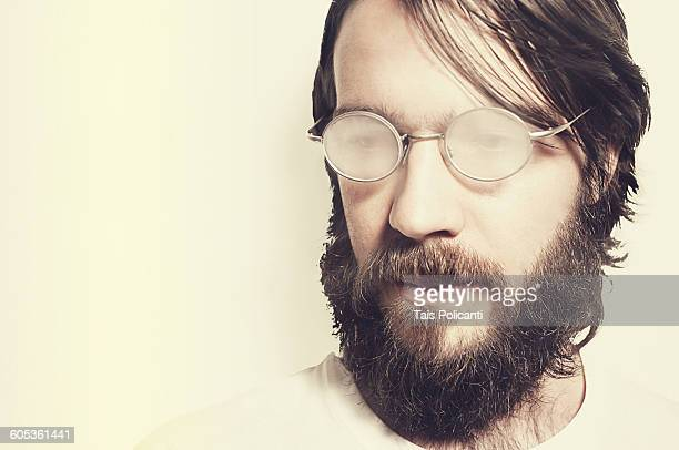 Bearded male model with glasses
