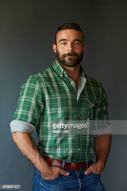 Bearded Man in Plaid Shirt
