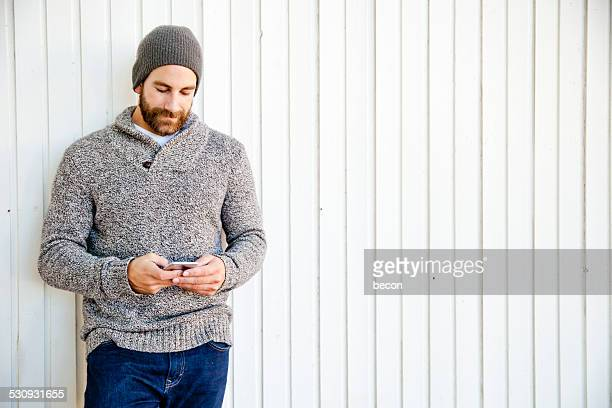 Bearded Man on Mobile Phone.