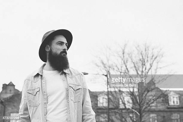 Bearded Man Portrait In A City Street