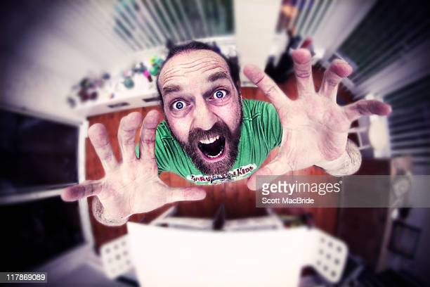 bearded man screaming - scott macbride stock pictures, royalty-free photos & images