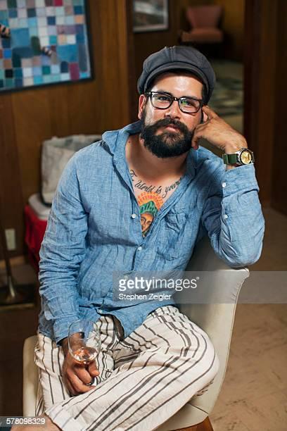 Bearded man sitting