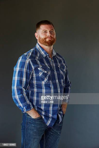 bearded man standing studio - checked pattern stock pictures, royalty-free photos & images