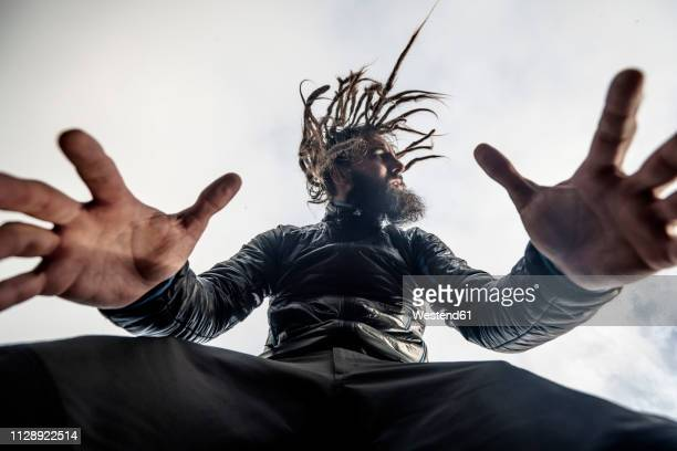 bearded man with dreadlocks posing - high contrast stock pictures, royalty-free photos & images