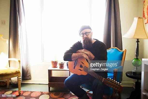 Bearded man with mandolin