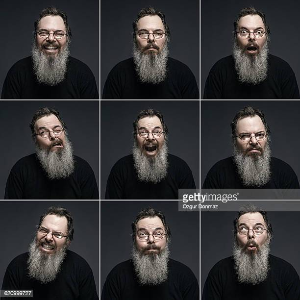 Bearded mature man making multiple expressions