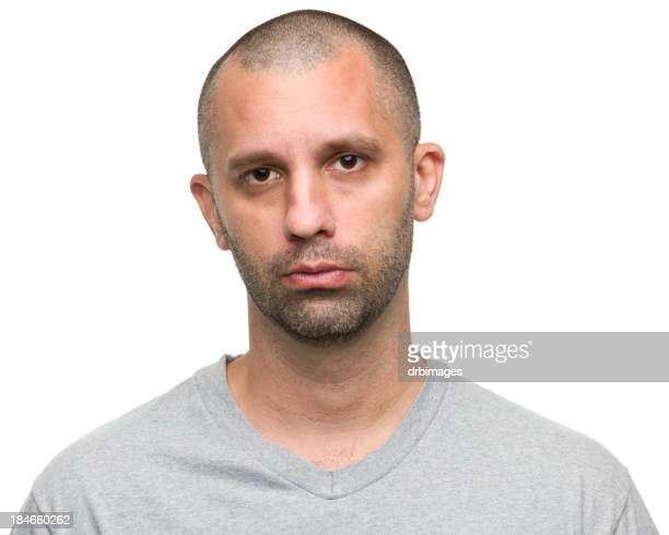 Bearded men with grey shirt on white background