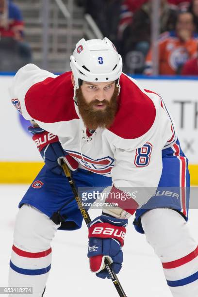 A bearded Montreal Canadiens Defenceman Jordie Benn leans into his stick for a face off on March 12 2017 at Rogers Place in Edmonton AB The Canadiens...