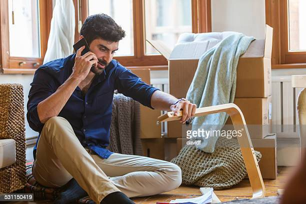 Bearded Muslim Man Phoning For Help