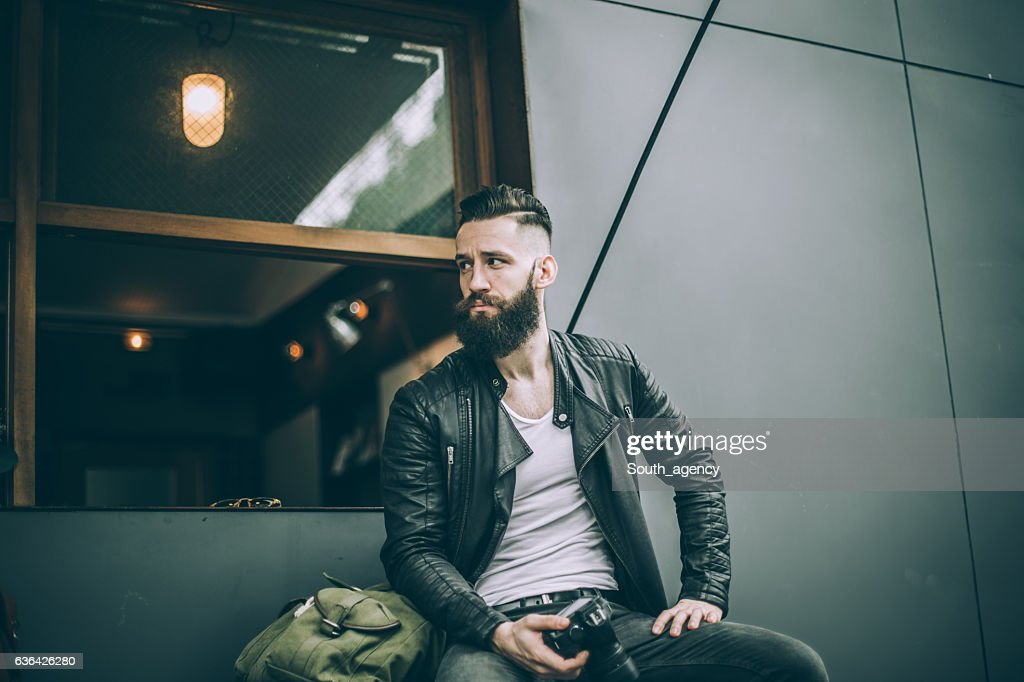 Bearded photographer : Stock Photo