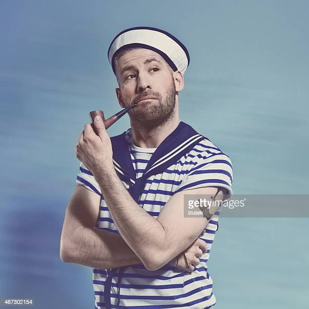 marin barbu homme fumeur de pipe - marin photos et images de collection
