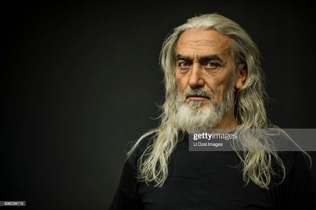 Bearded Senior Man Portrait, Age:55 : Stock Photo
