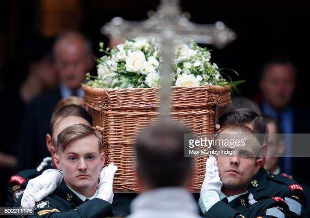 A bearer party of soldiers from the Canadian regiment 2nd Battalion Princess Patricia's Canadian Light Infantry carry Patricia Knatchbull Countess...