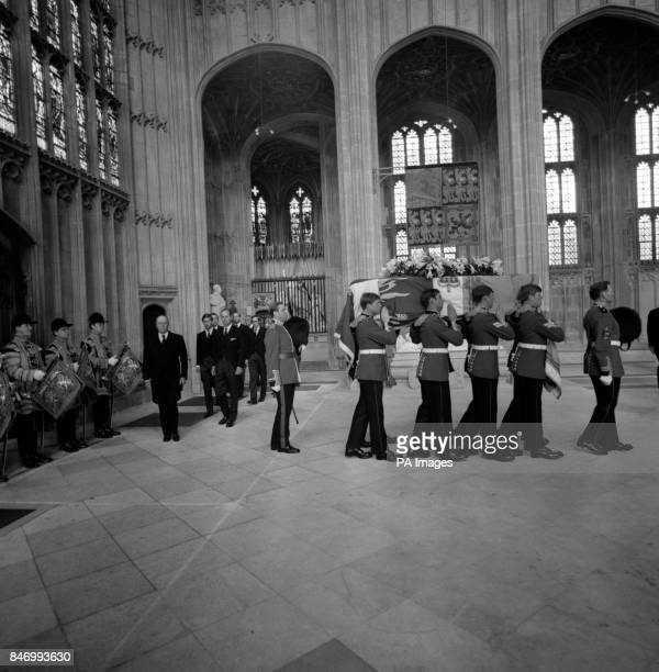Bearers of the Prince of Wales Company first Battalion Welsh Guards carrying the coffin of the Duke of Windsor for the funeral service in St George's...