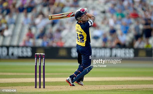 Bears batsman Brendon McCullum hits out during the NatWest T20 Blast match between Birmingham Bears and Derbyshire Falcons at Edgbaston on July 3...