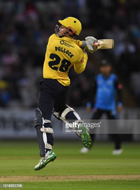 Bears batsman Ed Pollock hits out during the Vitality Blast match between Birmingham Bears and Worcestershire Royals at Edgbaston on August 17, 2018...