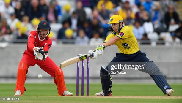 Bears batsman Sam Hain hits out during the Natwest T20 Blast match between Birmingham Bears and Lancashire Lightning at Edgbaston on July 30 2017 in...