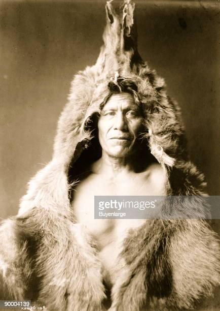 Bear's Belly Arikara Indian halflength portrait facing front wearing bearskin