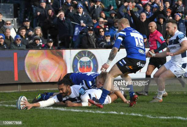 Bears player Chris Vui reaches to score the opening try during the Gallagher Premiership Rugby match between Bath Rugby and Bristol Bears at on March...