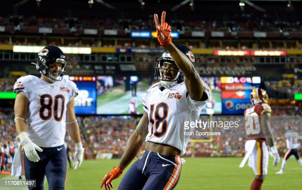 Bears WR Taylor Gabriel and TE Trey Burton celebrate after Gabriel caught a touchdown pass in the second quarter during the Chicago Bears vs...