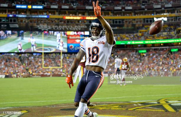 Bears WR Taylor Gabriel celebrates after catching a touchdown pass in the second quarter during the Chicago Bears vs Washington Redskins Monday Night...