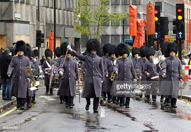 Bearskins marching in London at Lord Mayor's Show
