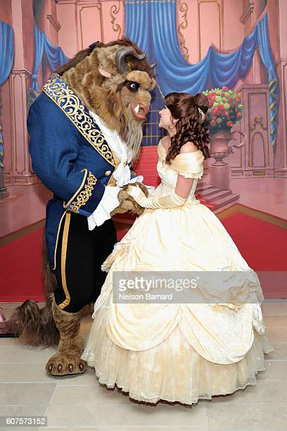 Beast and Belle attend the special screening of Disney's Beauty and the Beast to celebrate the 25th Anniversary Edition release on BluRay and DVD on...