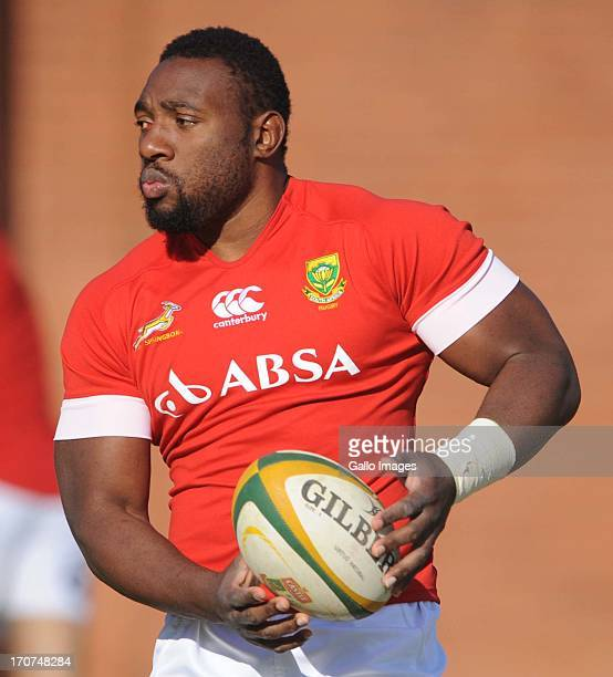 Beast Mtawarira during the Springboks training session at Loftus Versfeld D Field on June 17 2013 in Pretoria South Africa
