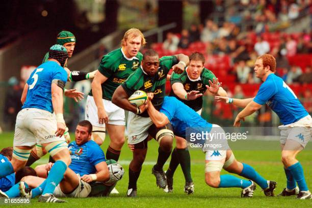 Beast Mtawarira of South Africa in action during the International match between South Africa and Italy held at the Newlands Stadium on June 21 2008...