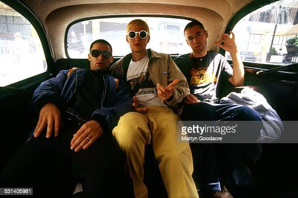 Beastie Boys, group portrait, London, United Kingdom, 1993. L-R Adam Horovitz , Mike Diamond , Adam Yauch .