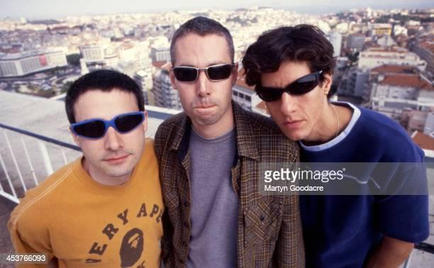 Beastie Boys, group portrait, L-R: Adam 'Ad-Rock' Horovitz, Adam Yauch, Mike D , Portugal, 1998.