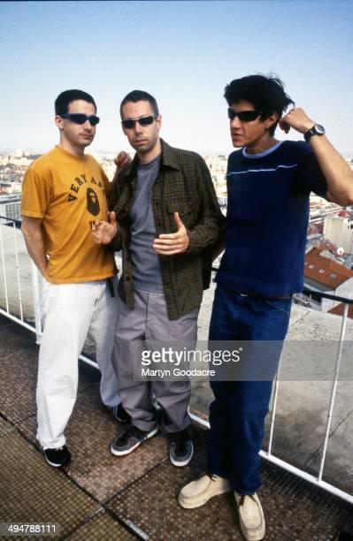Beastie Boys, group portrait, Portugal, 1998. L-R Ad Rock, Adam Yauch and Mike Diamond.