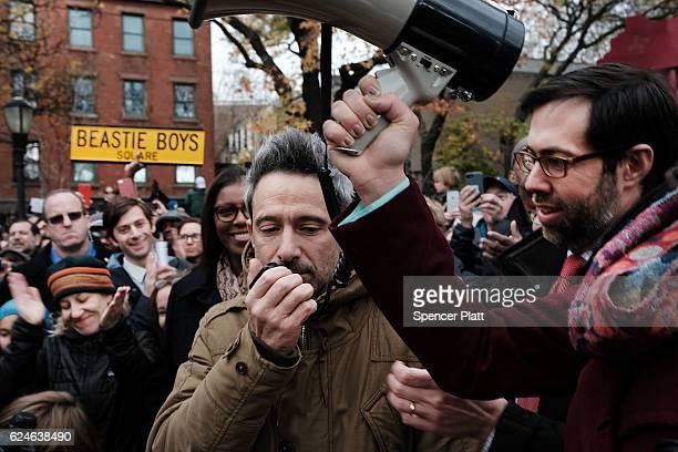 Beastie Boys member Adam Horovitz speaks at a antihate rally at a Brooklyn park named in memory of Beastie Boys band member Adam Yauch after it was...