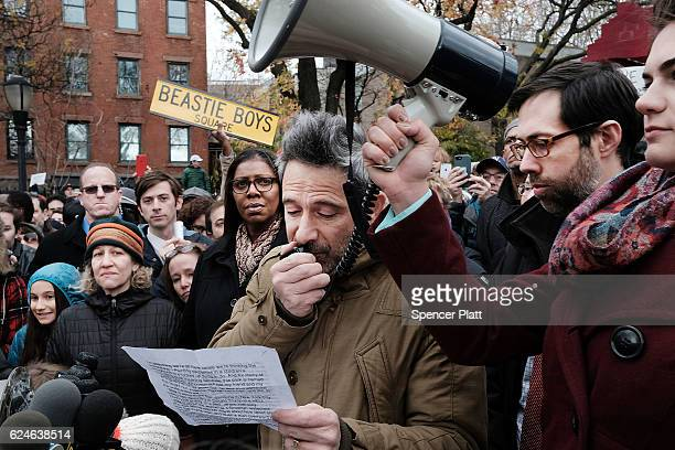 Beastie Boys member Adam Horovitz speaks at a antihate rally at a Brooklyn park named in memory of Beastie Boys band member Adam Yauch after it was...