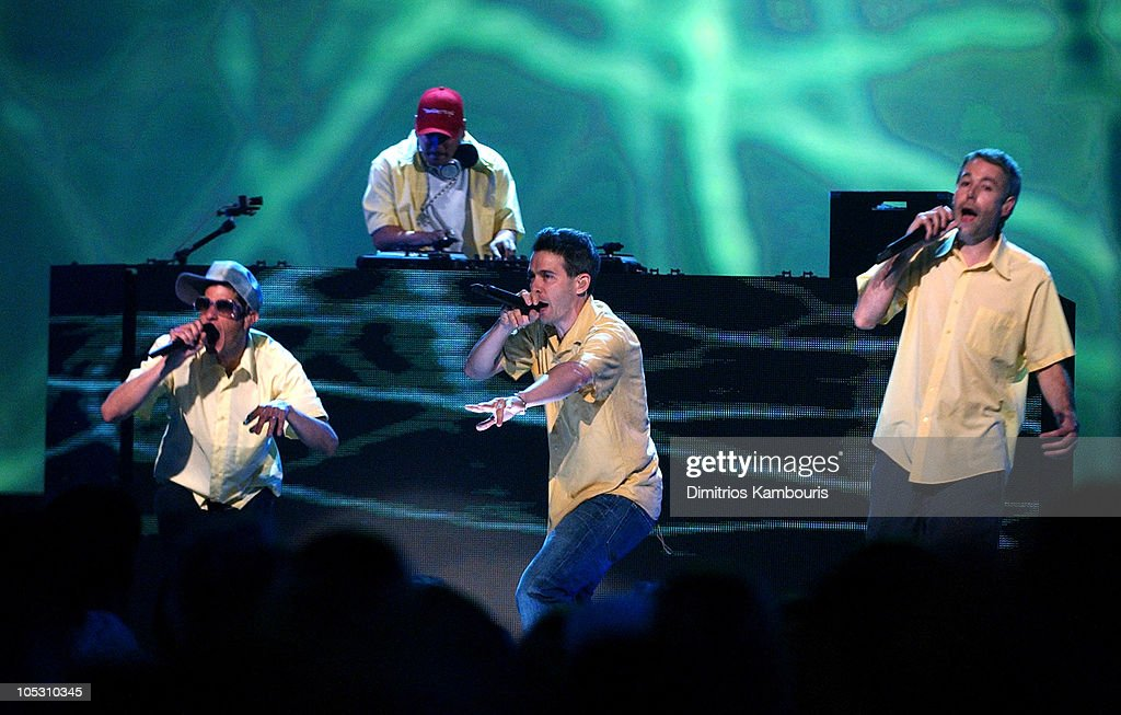 Beastie Boys performing 'Ch-Check It Out' during MTV Movie Awards 2004 - Show at Sony Pictures Studios in Culver City, California, United States.