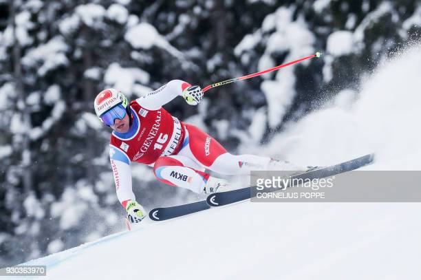 Beat Feuz from Switzerland competes in the Men's SuperG event at the FIS Alpine Skiing World Cup on March 11 2018 in Kvitfjell Norway / AFP PHOTO /...
