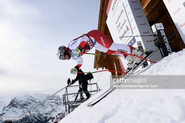 Beat Feuz of Switzerland at the start during the Audi FIS Alpine Ski World Cup Men's Downhill Training on January 10 2018 in Wengen Switzerland