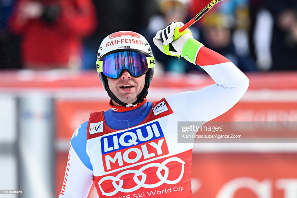 Beat Feuz of Switzerland celebrates during the Audi FIS Alpine Ski World Cup Finals Men's and Women's Downhill on March 14, 2018 in Are, Sweden.