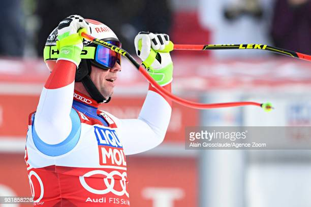 Beat Feuz of Switzerland celebrates during the Audi FIS Alpine Ski World Cup Finals Men's and Women's Downhill on March 14 2018 in Are Sweden