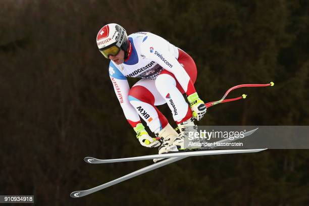 Beat Feuz of Switzerland competes at the Audi FIS Alpine Ski Men's Downhill World Cup at Kandahar race course on January 27 2018 in...