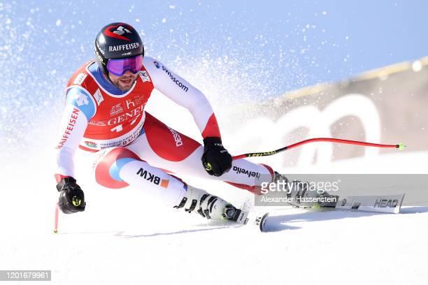 Beat Feuz of Switzerland competes at the Hahnenkamm Rennen Audi FIS Alpine Ski World Cup Men's Super G at Streif on January 24 2020 in Kitzbuehel...