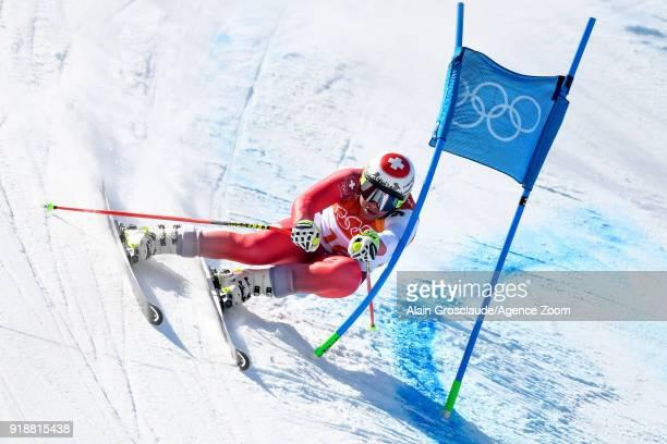 Beat Feuz of Switzerland competes during the Alpine Skiing Men's SuperG at Jeongseon Alpine Centre on February 16 2018 in Pyeongchanggun South Korea