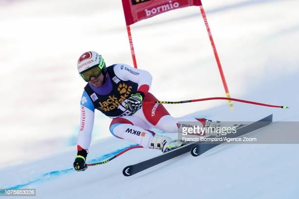 Beat Feuz of Switzerland competes during the Audi FIS Alpine Ski World Cup Men's Super G on December 29, 2018 in Bormio Italy.