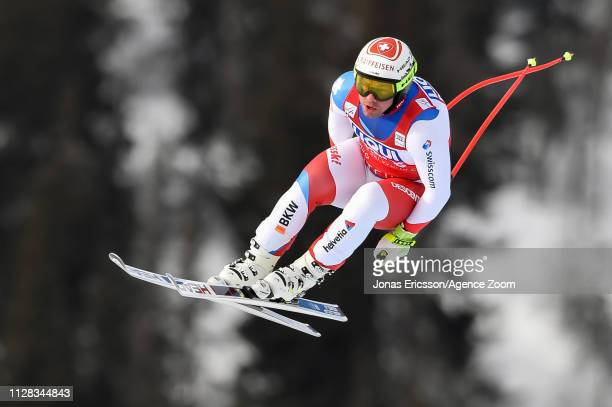 Beat Feuz of Switzerland competes during the Audi FIS Alpine Ski World Cup Men's Downhill on March 2, 2019 in Kvitfjell Norway.