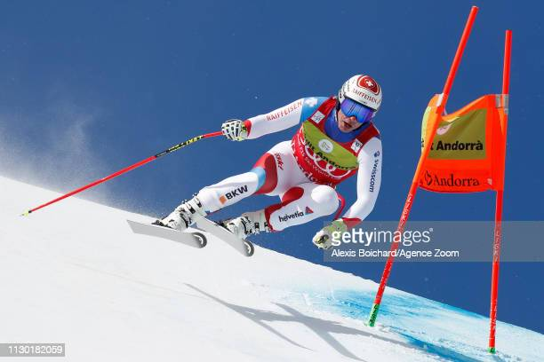 Beat Feuz of Switzerland competes during the Audi FIS Alpine Ski World Cup Men's and Women's Downhill on March 13 2019 in Soldeu Andorra