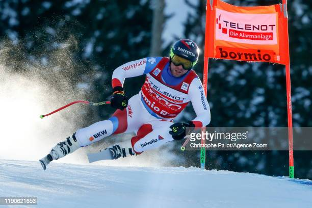 Beat Feuz of Switzerland competes during the Audi FIS Alpine Ski World Cup Men's Downhill on December 28, 2019 in Bormio Italy.