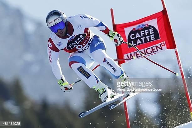 Beat Feuz of Switzerland competes during the Audi FIS Alpine Ski World Cup Men's Downhill Training on January 13 2015 in Wengen Switzerland
