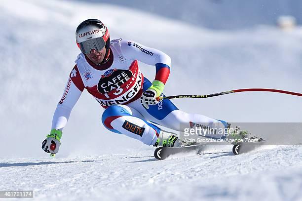 Beat Feuz of Switzerland competes during the Audi FIS Alpine Ski World Cup Men's Downhill on January 18 2015 in Wengen Switzerland